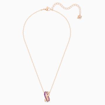 Twist Rows 链坠, 紫色, 镀玫瑰金色调 - Swarovski, 5563907