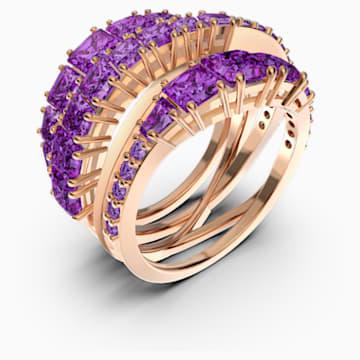 Twist Wrap 戒指, 紫色, 镀玫瑰金色调 - Swarovski, 5564872