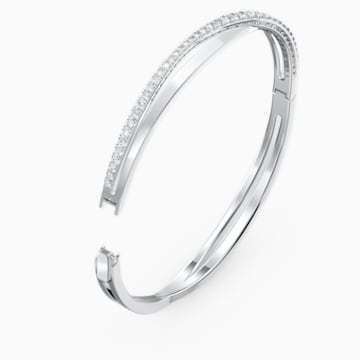 Twist Rows Bracelet, White, Rhodium plated - Swarovski, 5565210