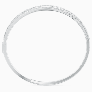 Twist Rows 手鏈, 白色, 鍍白金色 - Swarovski, 5565210
