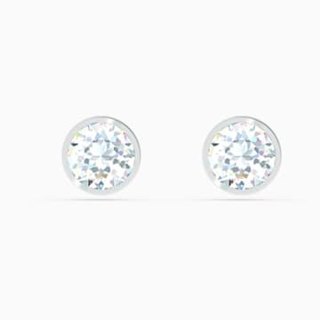 Boucles d'oreilles clous Tennis, blanc, métal rhodié - Swarovski, 5565604