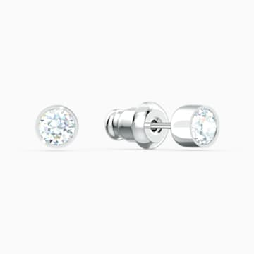 Tennis Stud Pierced Earrings, White, Rhodium plated - Swarovski, 5565604