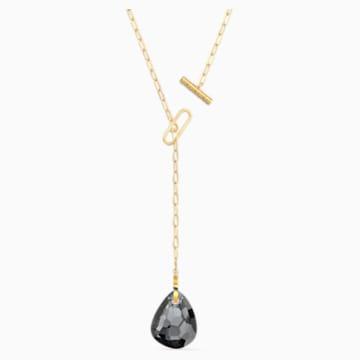 T BAR-Y-vormige ketting, Grijs, Goudkleurige toplaag - Swarovski, 5565997