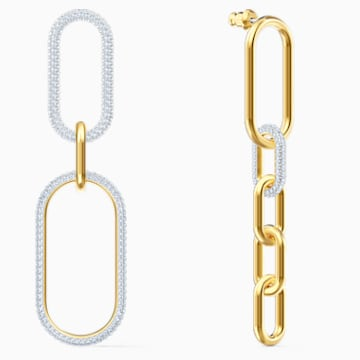 Time 穿孔耳环, 白色, 多种金属润饰 - Swarovski, 5566004