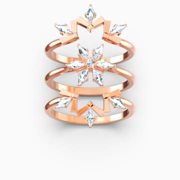 Magic Ring Set, White, Rose-gold tone plated - Swarovski, 5566676