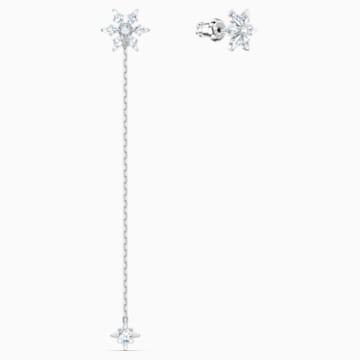 Cercei lanț cu șurub Magic, alb, placați cu rodiu - Swarovski, 5566677
