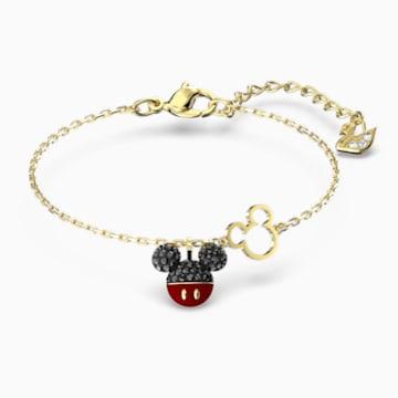 Mickey 手链, 黑色, 镀金色调 - Swarovski, 5566689
