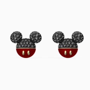 Mickey-steekoorbellen, Zwart, Goudkleurige toplaag - Swarovski, 5566691