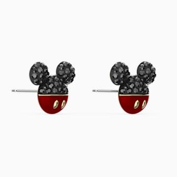 Mickey 穿孔耳環, 黑色, 鍍金色色調 - Swarovski, 5566691