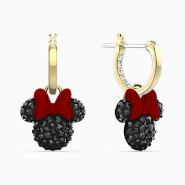 Minnie 穿孔耳環, 黑色, 鍍金色色調 - Swarovski, 5566692