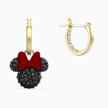Minnie Kreolen, schwarz, vergoldet - Swarovski, 5566692