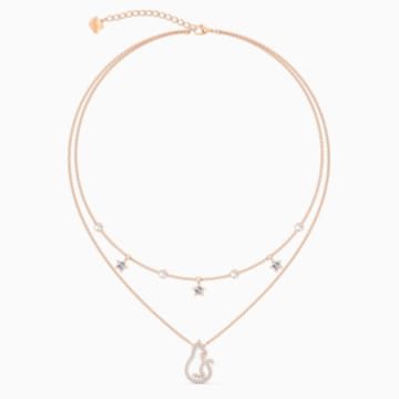 Cattitude Layered Necklace, Multicolored, Rose-gold tone plated - Swarovski, 5566726