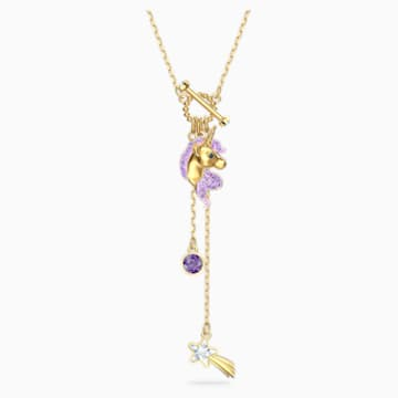 Out of this World Unicorn Y形项链, 紫色, 镀金色调 - Swarovski, 5566745
