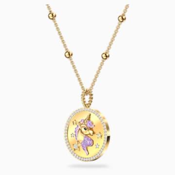 Out of this World Unicorn Necklace, Medium, Purple, Gold-tone plated - Swarovski, 5566747
