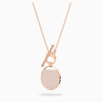 Collar Ginger T Bar, blanco, baño tono oro rosa - Swarovski, 5567529