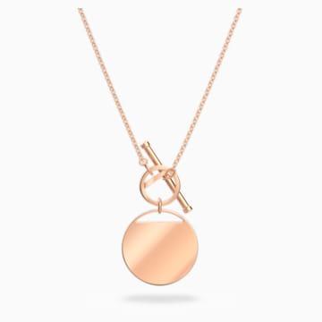 Colier Ginger închizătoare în T, alb, placat în nuanță aur roz - Swarovski, 5567529