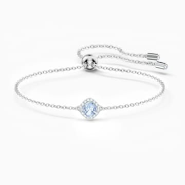 Angelic Cushion Armband, blau, rhodiniert - Swarovski, 5567933