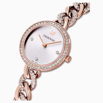 Cocktail Round Watch, Metal bracelet, Rose gold tone, Rose-gold tone PVD - Swarovski, 5567952