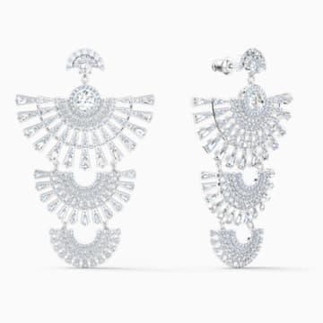 Swarovski Sparkling Dance Dial Up 穿孔耳环, 白色, 镀铑 - Swarovski, 5568008