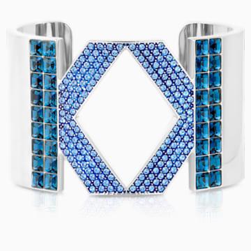 Manchette Karl Lagerfeld Logo, bleu, métal plaqué palladium - Swarovski, 5568585