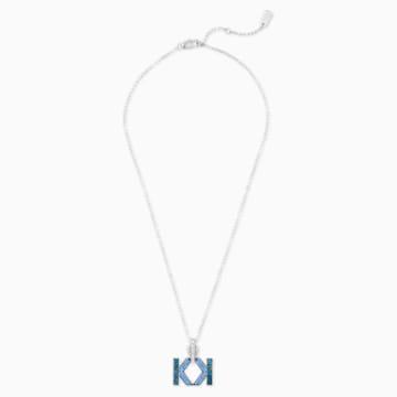 Karl Lagerfeld Logo Halskette, blau, palladiniert - Swarovski, 5568589