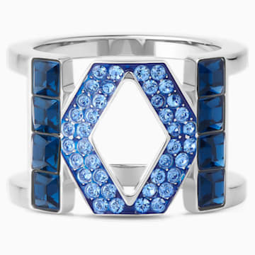 Anello Karl Lagerfeld Logo, blu, placcato palladio - Swarovski, 5568606