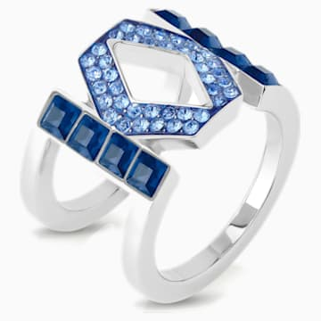 Karl Lagerfeld Logo Ring, Blue, Palladium plated - Swarovski, 5568606