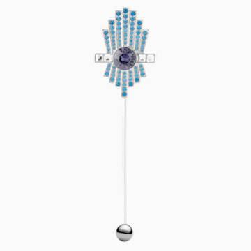 Broche Karl Lagerfeld, bleu, métal plaqué palladium - Swarovski, 5568610