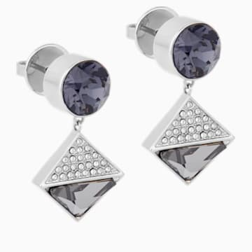 Karl Lagerfeld Geometric 穿孔耳环, 灰色, 镀钯 - Swarovski, 5568613