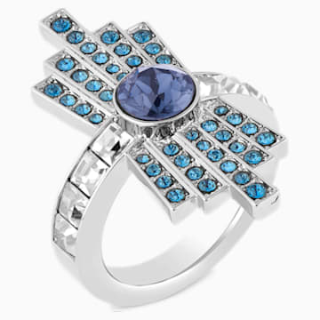 Bague cocktail Karl Lagerfeld, bleu, métal plaqué palladium - Swarovski, 5568619