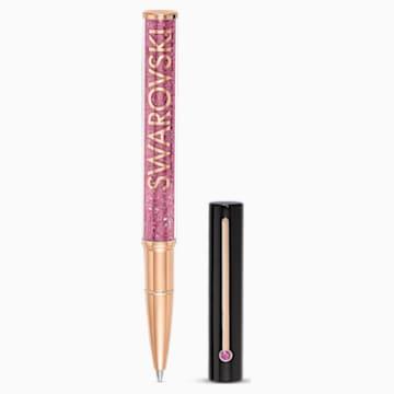 Stylo à Bille Crystalline Gloss, Noir et rose, métal doré rose - Swarovski, 5568755