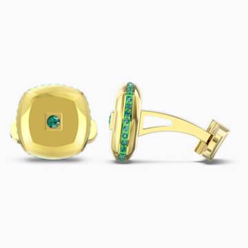 Theo-manchetknopen met element aarde, Groen, Goudkleurige toplaag - Swarovski, 5569062