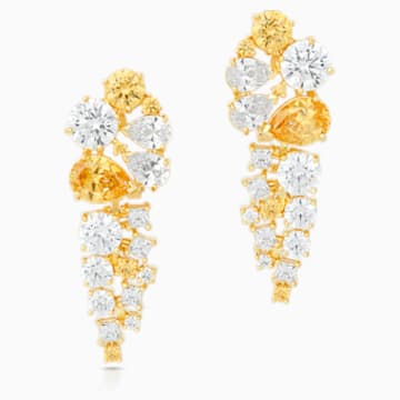 Penélope Cruz Icons of Film Drop Pierced Earrings, Yellow, Gold-tone plated - Swarovski, 5569084