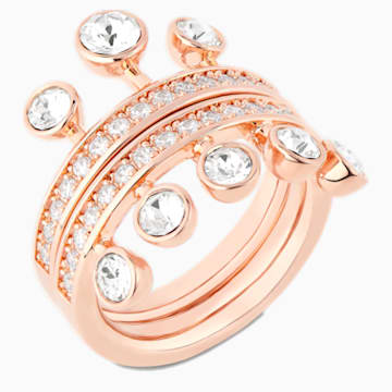 Theater Ring, White, Rose-gold tone plated - Swarovski, 5569096