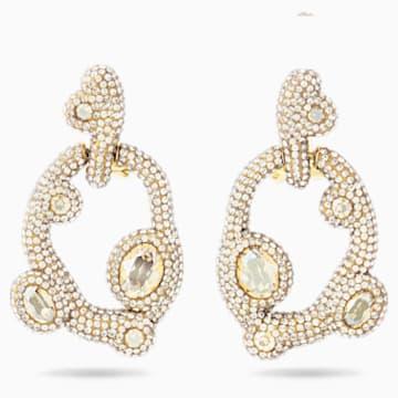 Tigris 穿孔耳環, 白色, 鍍金色色調 - Swarovski, 5569110