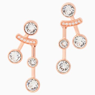 Theater Pierced Earrings, White, Rose-gold tone plated - Swarovski, 5569137
