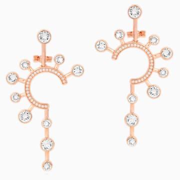 Theater Statement 穿孔耳环, 白色, 镀玫瑰金色调 - Swarovski, 5569151