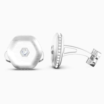 Butoni Theo Air Element, alb, placați cu rodiu - Swarovski, 5569154