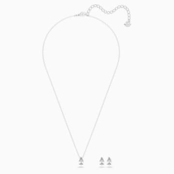 Zestaw Attract Pear, biały, powlekany rodem - Swarovski, 5569174