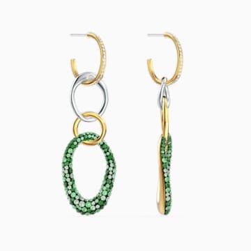 The Elements 穿孔耳環, 綠色, 多種金屬潤飾 - Swarovski, 5569183