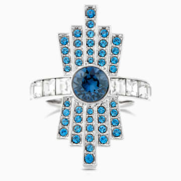 Karl Lagerfeld Cocktail Ring, Blue, Palladium plated - Swarovski, 5569562