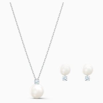 Set Treasure Pearl, bianco, placcato rodio - Swarovski, 5569758