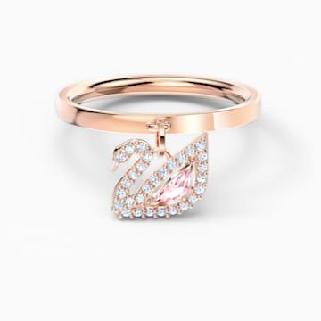 Λαμπερό δαχτυλίδι κύκνος, ροζ, επιχρυσωμένο με ροζ χρυσό - Swarovski, 5569923