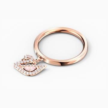 Dazzling Swan 戒指, 粉紅色, 鍍玫瑰金色調 - Swarovski, 5569923