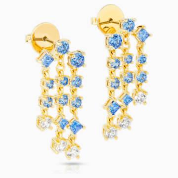 Pendientes chandelier Penélope Cruz Icons of Film, azul, baño tono oro - Swarovski, 5570803