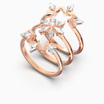 Sada prstenů Magic, bílé, pozlacené růžovým zlatem - Swarovski, 5572493