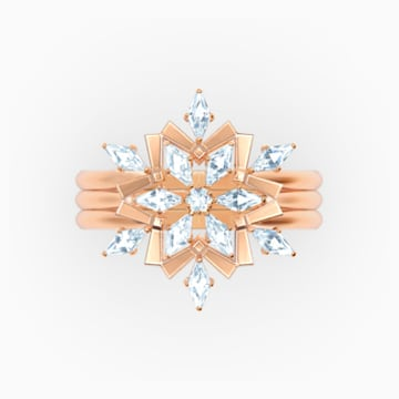 Magic Ring Set, White, Rose-gold tone plated - Swarovski, 5572494