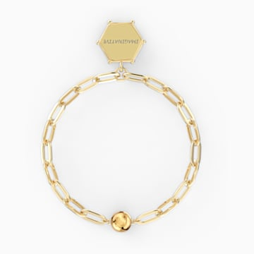 The Elements Moon Bracelet, Blue, Gold-tone plated - Swarovski, 5572651