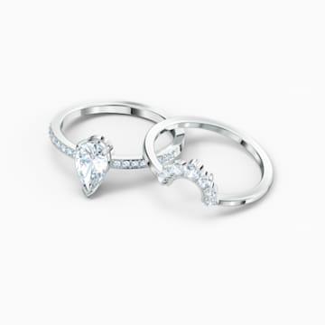 Attract Pear 戒指套裝, 白色, 鍍白金色 - Swarovski, 5572656