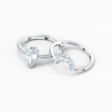 Attract Pear 戒指套裝, 白色, 鍍白金色 - Swarovski, 5572658